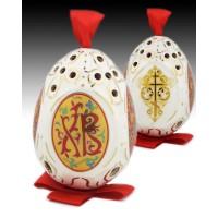 XB Gilded Porcelain Egg with Ribbon